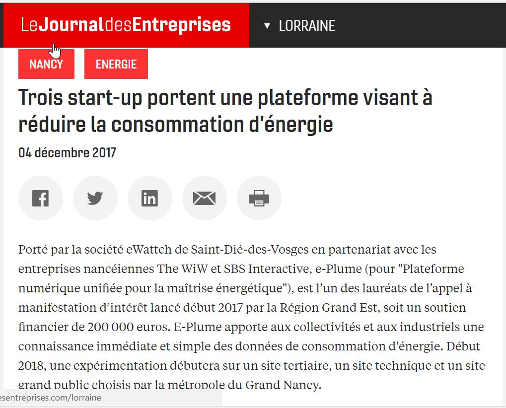 Journal-des-Entreprises-e-Plume-171204 - The WIW - Solutions 4.0