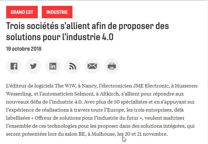 Journal-des-entreprises-181019 - The WIW - Solutions pour l\'industrie 4.0
