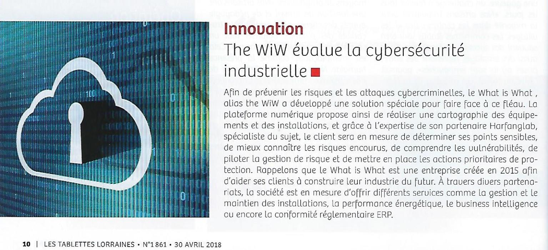 180430-article-cyberscurit-WiW-dans-les-tablettes-lorraines - The WIW - Solutions pour l\'industrie 4.0