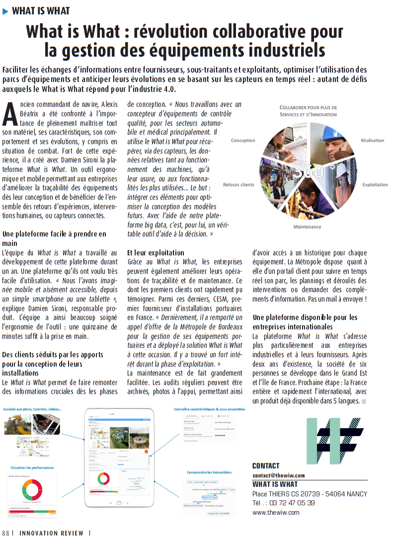 article_innovationreview - The WIW - Solutions pour l\'industrie 4.0