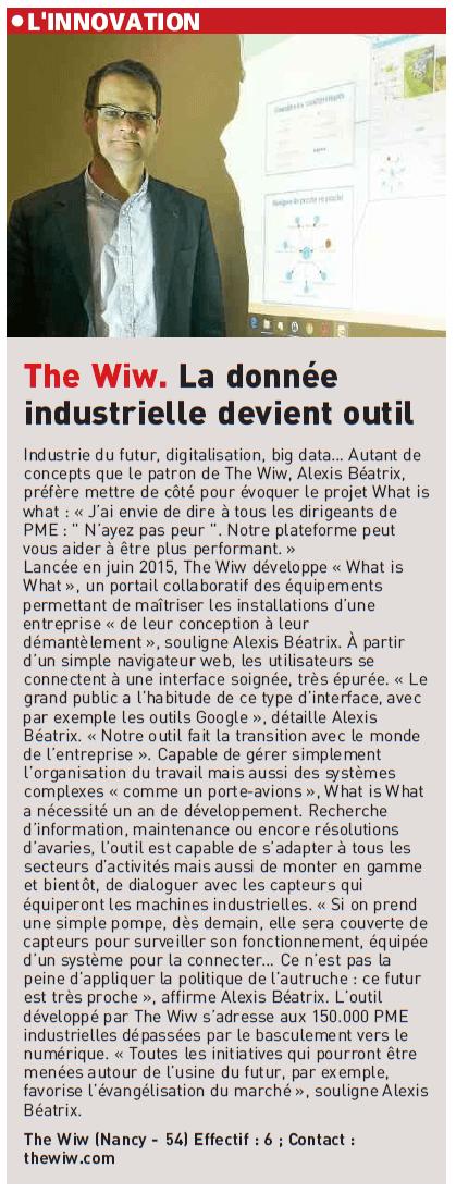 Journal-des-entreprises-091216 - The WIW - Solutions 4.0